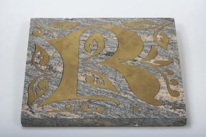 Intarsientarsienarbeit Naturstein und Messing